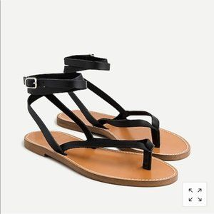 J. Crew Black Leather Ankle-Wrap Thong Sandals 9